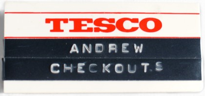 My badge from my time at Tesco